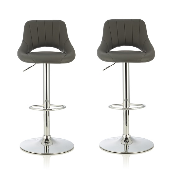 Shello Bar Stool In Grey Faux Leather With Chrome Base In A Pair