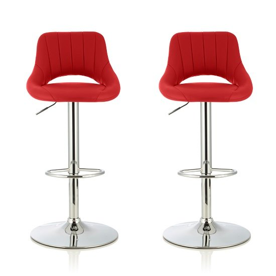 Shello Bar Stool In Red Faux Leather With Chrome Base In A Pair