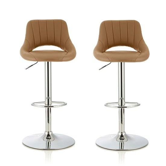 Shello Bar Stool In Taupe Faux Leather And Chrome Base In A Pair