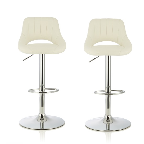 Shello Bar Stool In White Faux Leather And Chrome Base In A Pair