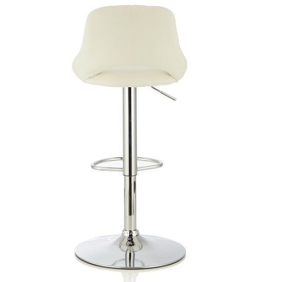 Shello Bar Stool In White Faux Leather And Chrome Base In A Pair_2