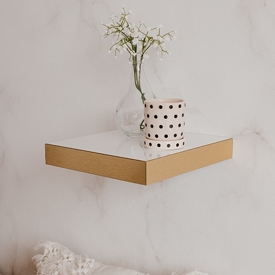 Shelvy Small Wooden Wall Shelf In White High Gloss And Gold