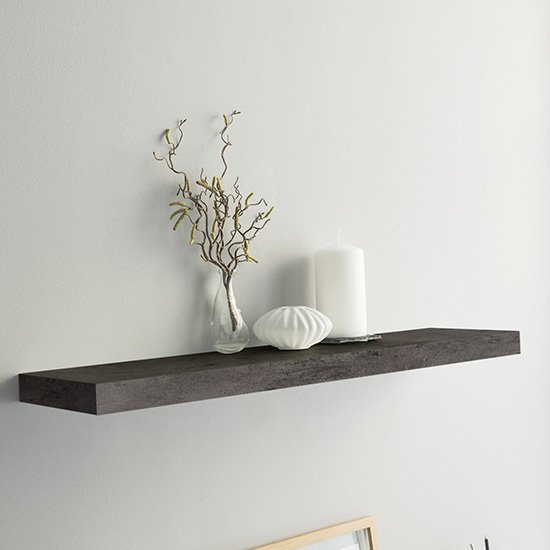 Shelvza Large Wooden Wall Shelf In Dark Concrete