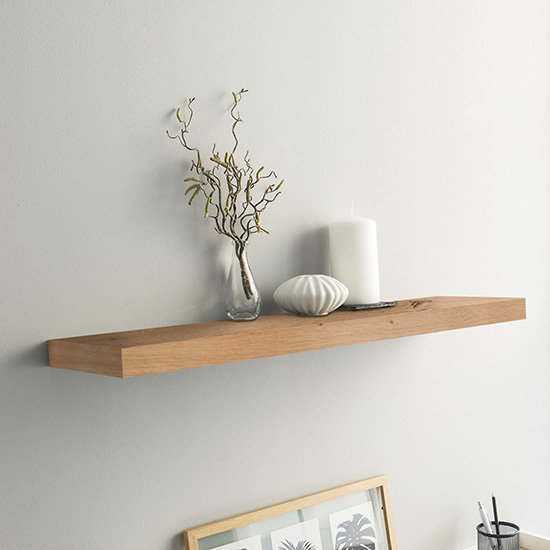 Shelvza Large Wooden Wall Shelf In Sonoma Oak