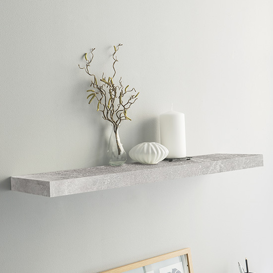 Shelvza Large Wooden Wall Shelf In Structured Concrete_1