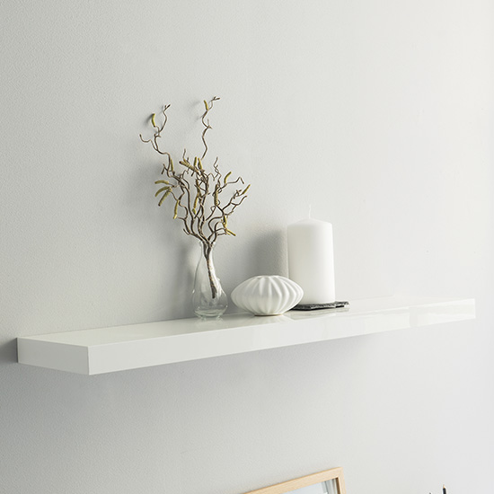 Shelvza Large Wooden Wall Shelf In White High Gloss