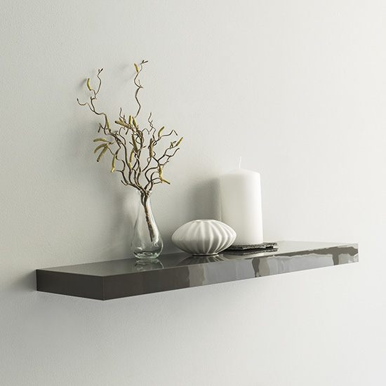 Shelvza Medium Wooden Wall Shelf In Grey High Gloss