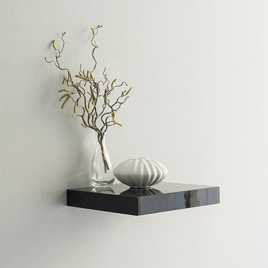 Shelvza Small Wooden Wall Shelf In Black High Gloss_1