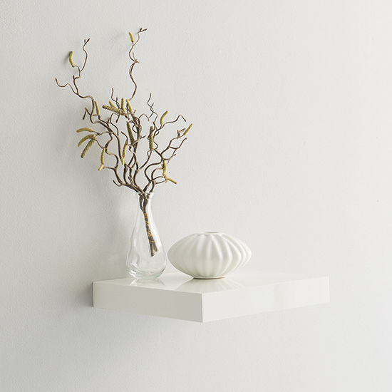 Product photograph showing Shelvza Small Wooden Wall Shelf In White High Gloss