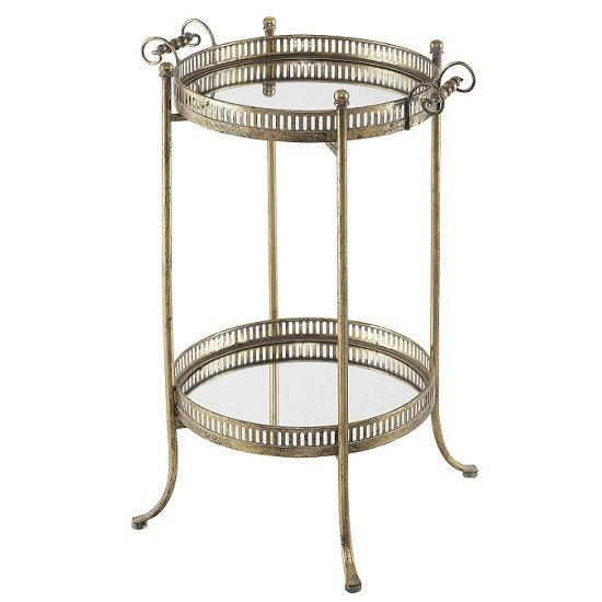 Sherin Mirrored Side Table And Serving Tray In Metal