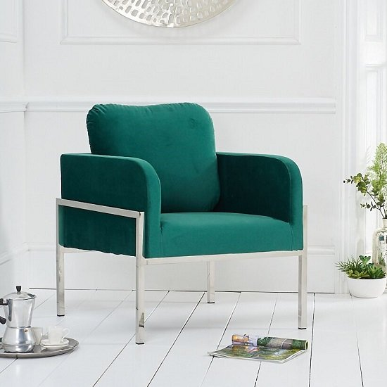 Sherri Velvet Accent Lounge Chair In Green With Metal Frame
