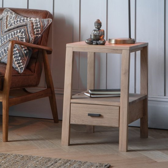 Sherwood Wooden Side Table In Oak