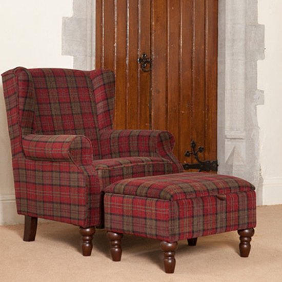 Shetland Fabric Lounge Chair In Claret With Foot Stool_1