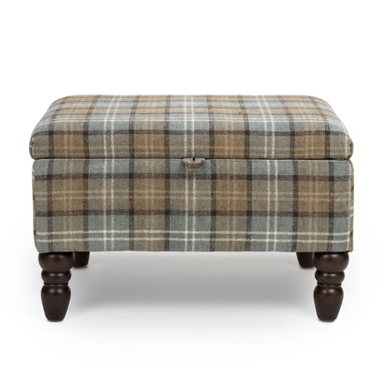 View Shetland fabric storage foot stool in dove grey