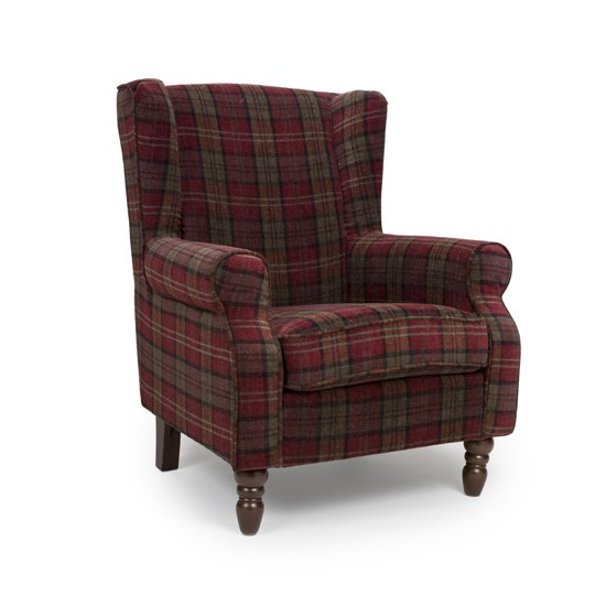 Shetland Fabric Upholstered Lounge Chair In Claret