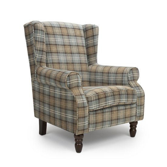 Shetland Fabric Upholstered Lounge Chair In Dove Grey