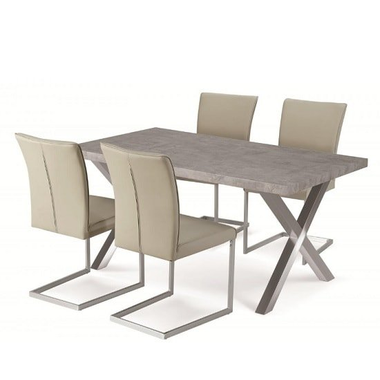 Shiro Dining Table Set In Stone Effect With 4 Beige Chairs