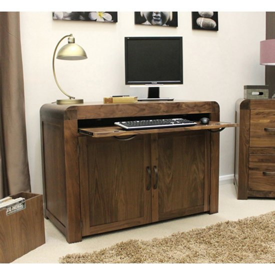 Shiva Walnut Hidden Home Office Computer Desk