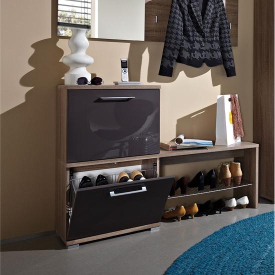 Prima Dark Oak/Gloss Graphite Shoe Cabinet, 3162-165