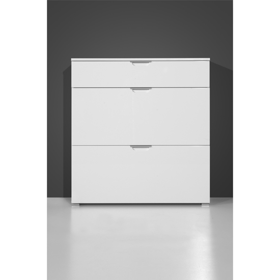 Gala Shoe Cabinet In White Foil Gloss