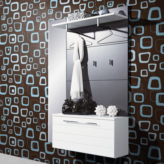 Wall Mounted White/Anthracite Hallway/Shoe Storage Cabinet