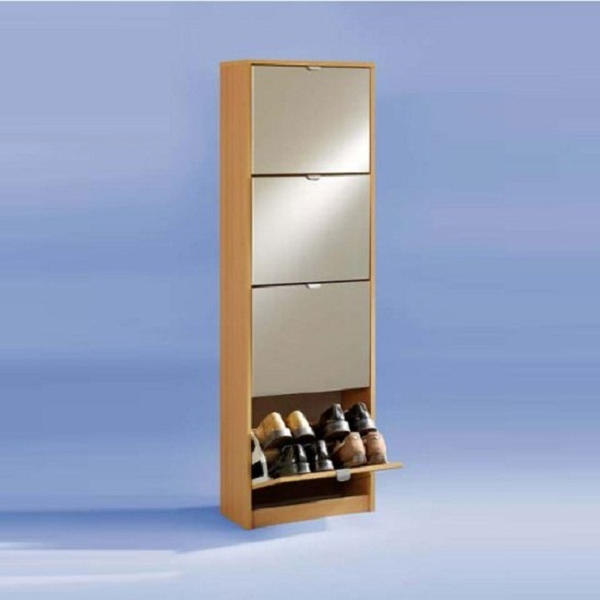Penny5 Tall Mirrored Shoe Cabinet In Beech 4160 Furniture