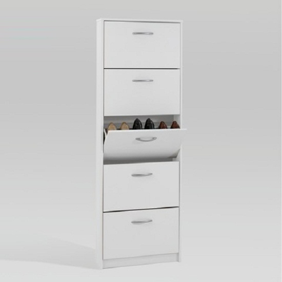 Atlanta Wooden Shoe Cabinet In White With 5 Drawer
