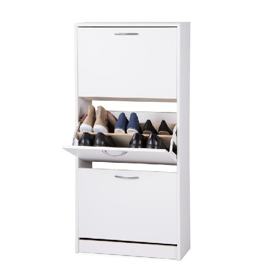 Montrose Shoe Cabinet In White With 3 Doors_2