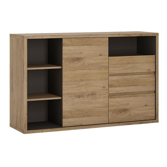 Sholka 1 Door 3 Drawers Sideboard In Oak