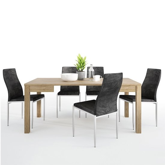 Sholka Wooden Extending Dining Table With 4 Mexa Black Chairs