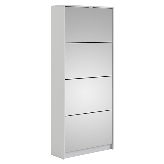 Shovy Mirrored Shoe Cabinet In White With 4 Doors And 2 Layers_2