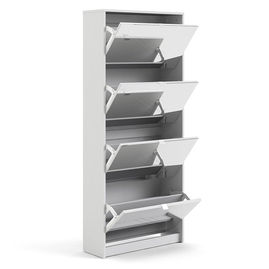 Shovy Mirrored Shoe Cabinet In White With 4 Doors And 2 Layers_3