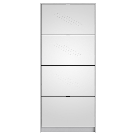 Shovy Mirrored Shoe Cabinet In White With 4 Doors And 2 Layers_4