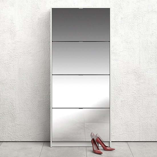 Shovy Mirrored Shoe Cabinet In White With 4 Doors And 2 Layers_1