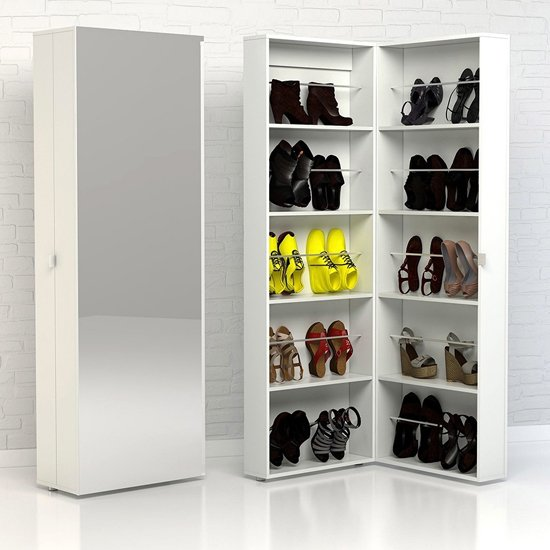 Shovy Mirrored Shoe Storage Cabinet In White With 1 Door