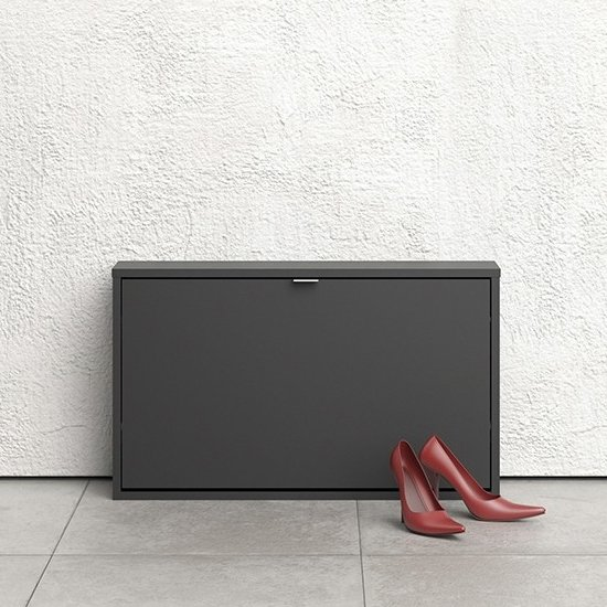 Shovy Wooden Shoe Cabinet In Matt Black With 1 Door And 1 Layer