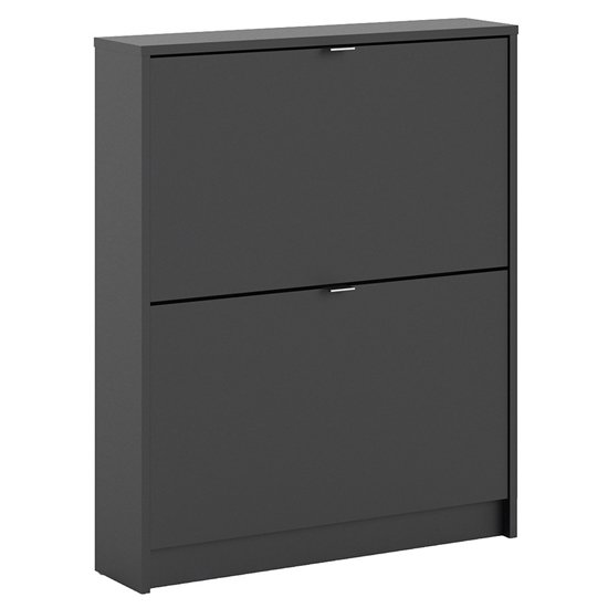 Shovy Wooden Shoe Cabinet In Matt Black With 2 Doors And 1 Layer