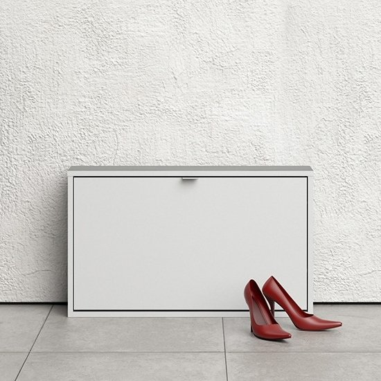 Shovy Wooden Shoe Cabinet In White With 1 Door And 1 Layer