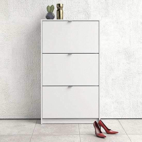 Shovy Wooden Shoe Cabinet In White With 3 Doors And 2 Layers