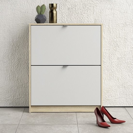 Shovy Wooden Shoe Cabinet In White And Oak With 2 Doors 2 Layers