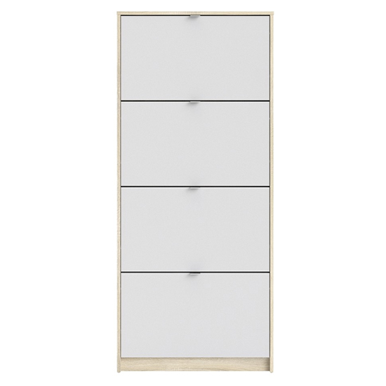 Shovy Wooden Shoe Cabinet In White And Oak With 4 Doors 1 Layer_4