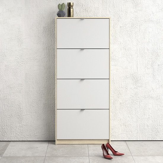 Shovy Wooden Shoe Cabinet In White And Oak With 4 Doors 1 Layer_1