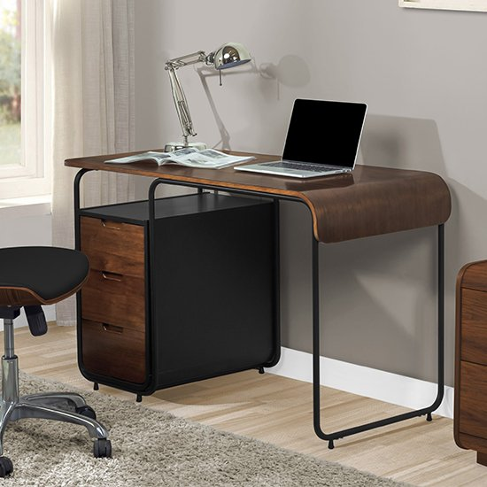 Sicenza Wooden Computer Desk In Walnut And Black With 3 Drawers