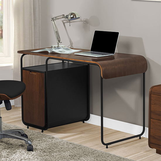 Sicenza Wooden Computer Desk In Walnut And Black With Cabinet