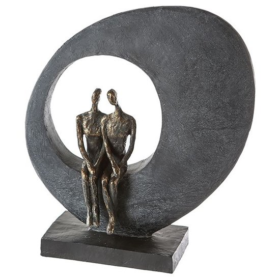 Side By Side Poly Design Sculpture In Burnished Bronze And Grey