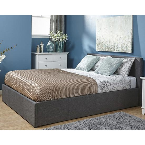 Side Lift Ottoman Fabric King Size Bed In Grey