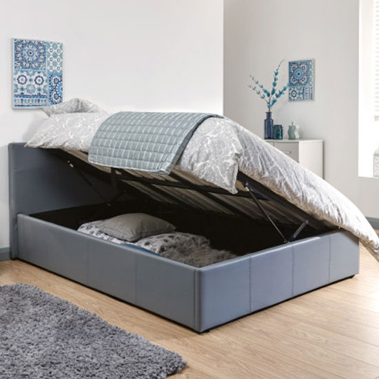 Side Lift Ottoman Faux Leather Double Bed In Grey_2