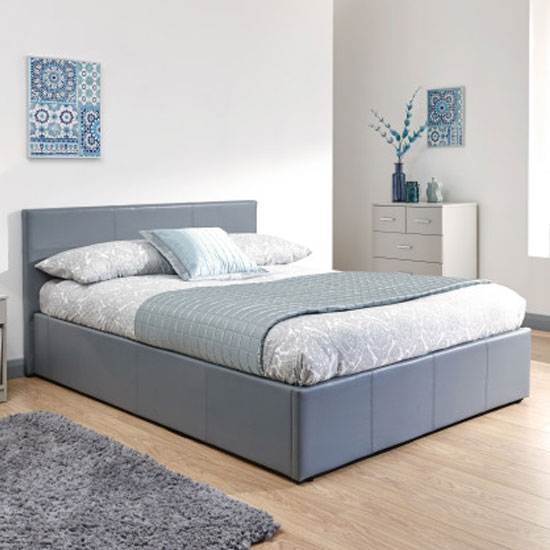 Side Lift Ottoman Faux Leather Double Bed In Grey_1
