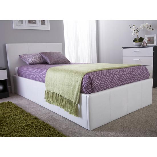 Side Lift Ottoman Faux Leather Small Double Bed In White_2