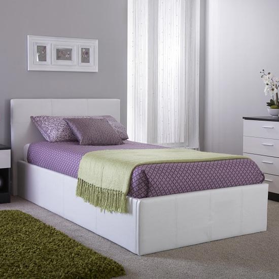 Side Lift Ottoman Faux Leather Small Double Bed In White_1